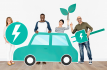 four folks in front of a white background holding cardboard cut-outs of a car, leaf, plug and electron.